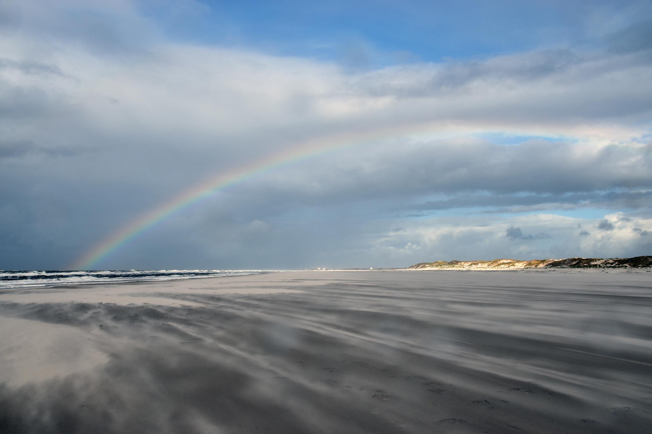 Sonne, Regen und Wind am Strand